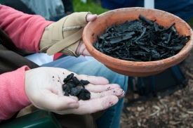 Right Hand - charcoal (produced from wood and used for heating) and Left Hand - biochar (produced from a range of carbon sources and primarily used for soil improvement)