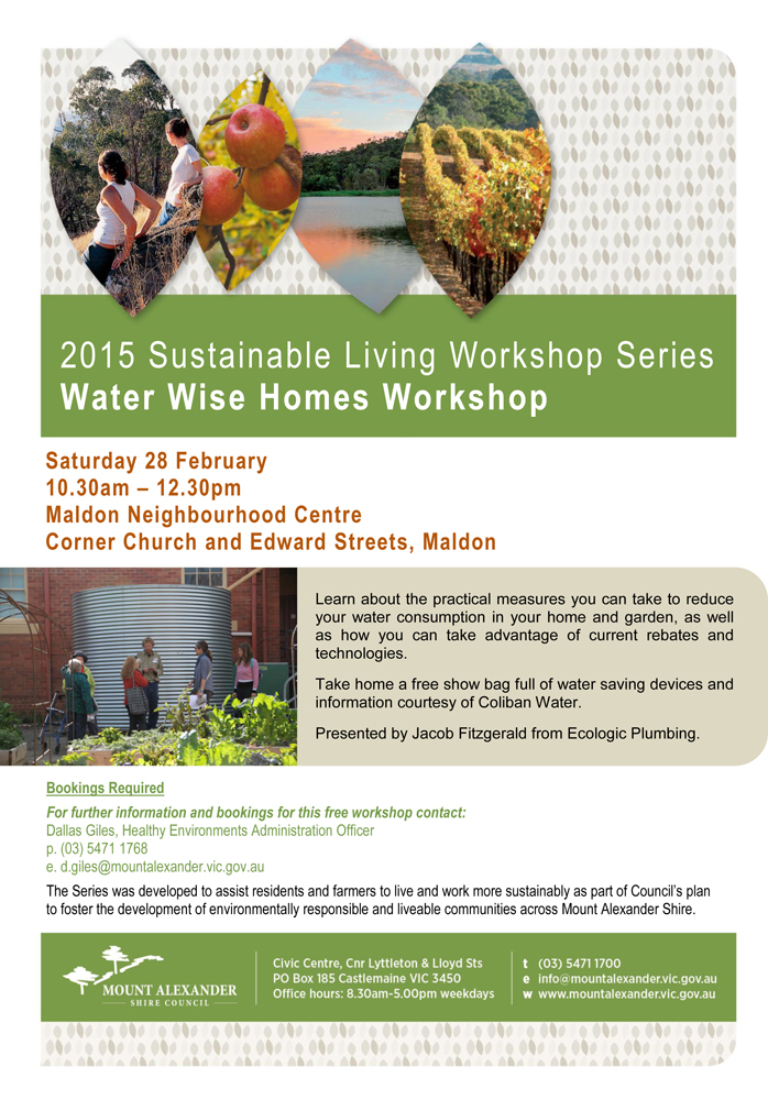 Poster PDF   Water Wise Homes Workshop   28 February 2015