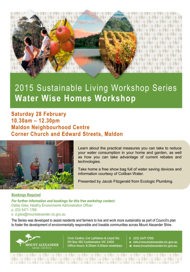 Poster PDF - Water Wise Homes Workshop - 28 February 2015